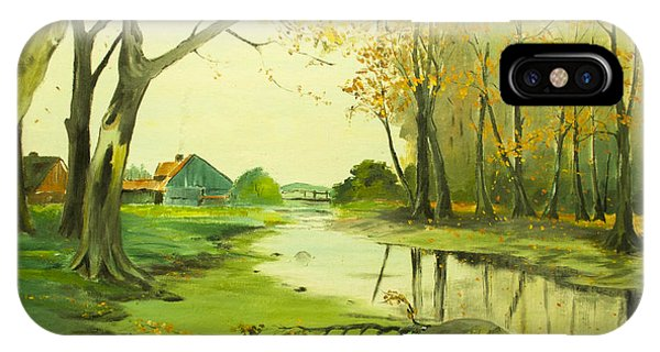 IPhone Case featuring the painting Fall By The Stream By Merlin Reynolds by Fran Riley