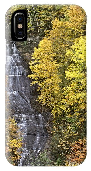 Fall Color Surrounds Chapel Falls On The Michigan Upper Peninsula IPhone Case