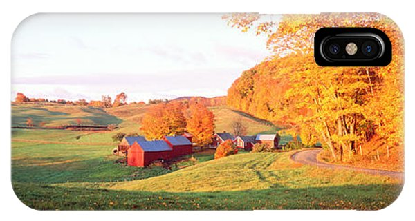 New England Barn iPhone Case - Fall Farm Vt Usa by Panoramic Images