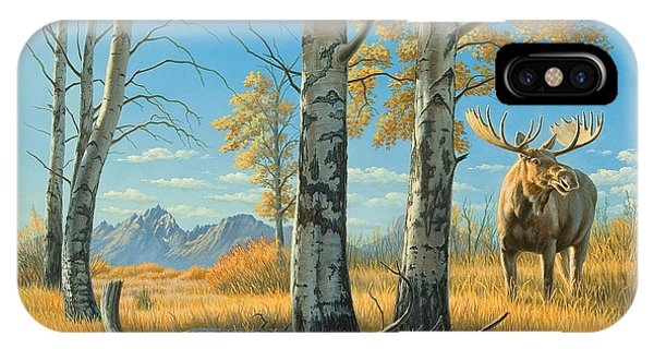 Teton iPhone Case - Fall Landscape - Moose by Paul Krapf