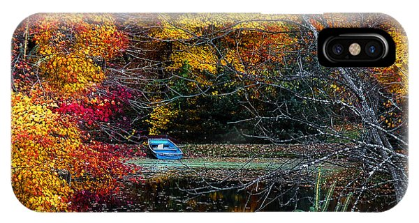 Fall Pond And Boat IPhone Case