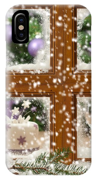 Frost Glass iPhone Case - Falling Snow Window by Amanda Elwell