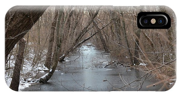Falling Trees On A Frozen Canal Phone Case by Bill Helman
