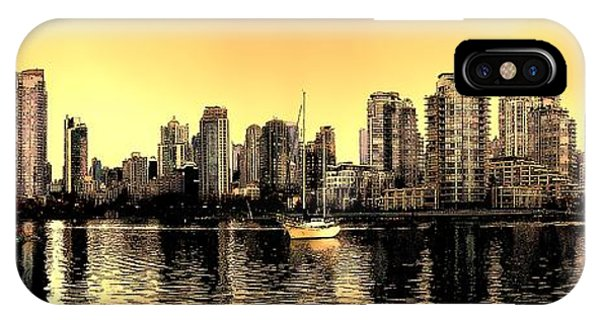 Vancouver Skyline iPhone Case - False Creek Vancouver Canada Inksketch Panorama by Patricia Keith