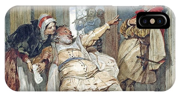 Debts iPhone Case - Falstaff Bardolph And Dame Quickly by Francis Phillip Stephanoff