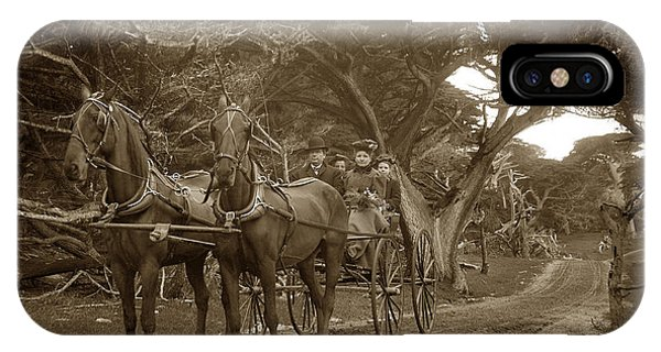 Family Out Carriage Ride On The 17 Mile Drive In Pebble Beach Circa 1895 IPhone Case