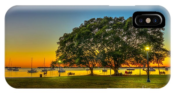 Park Bench iPhone Case - Family Sunset by Marvin Spates