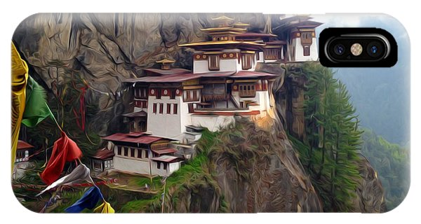 Famous Tigers Nest Monastery Of Bhutan 10 IPhone Case
