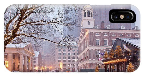 Weathered iPhone Case - Faneuil Hall In Snow by Susan Cole Kelly