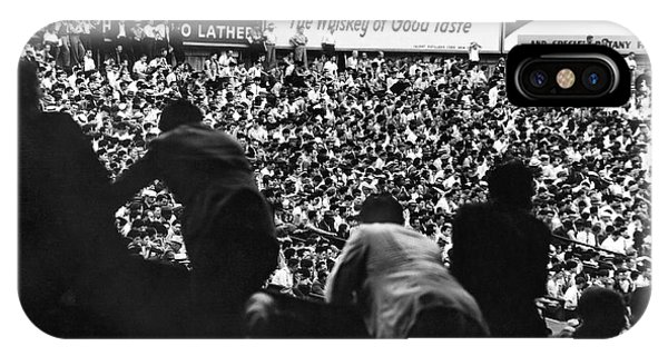 Fans In The Bleachers During A Baseball Game At Yankee Stadium IPhone Case