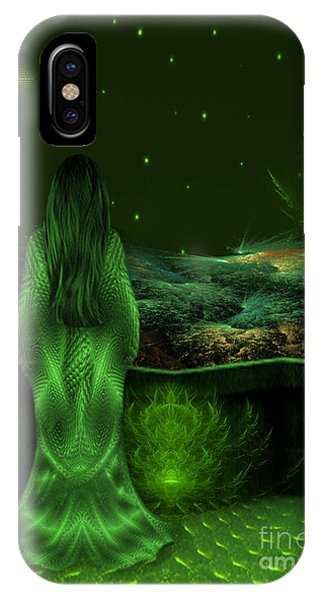 Fantasy Art - Wishing Upon A Star In A Green Night  By Rgiada  IPhone Case
