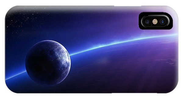 Sun Rays iPhone Case - Fantasy Earth And Moon With Colourful  Sunrise by Johan Swanepoel