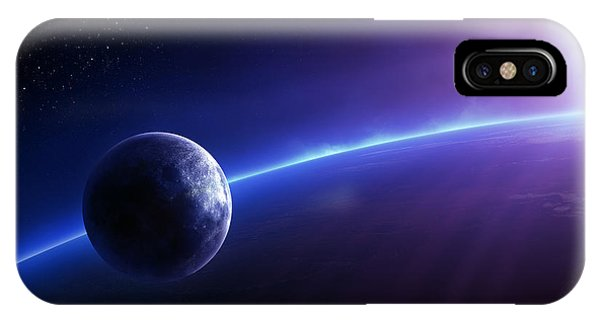 Planets iPhone Case - Fantasy Earth And Moon With Colourful  Sunrise by Johan Swanepoel