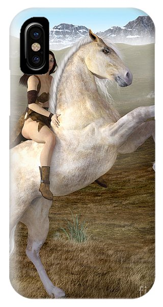 Fantasy Woman On Rearing Horse IPhone Case