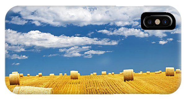Farm Field With Hay Bales IPhone Case
