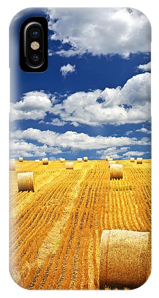Beautiful iPhone Case - Farm Field With Hay Bales In Saskatchewan by Elena Elisseeva