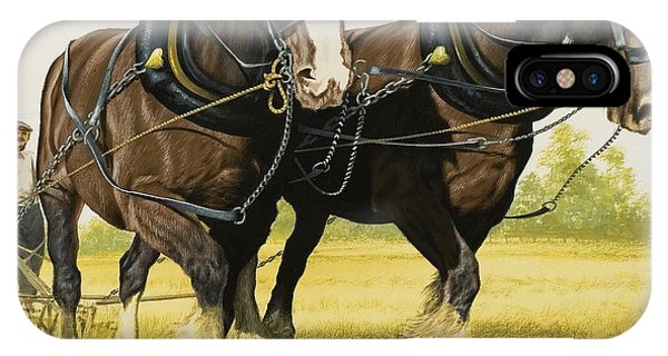 Plowing iPhone Case - Farm Horses by David Nockels