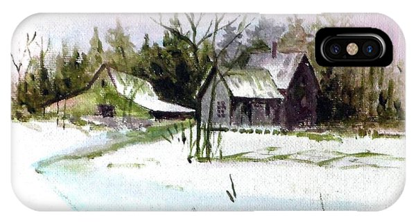 Farm House In The Snow IPhone Case