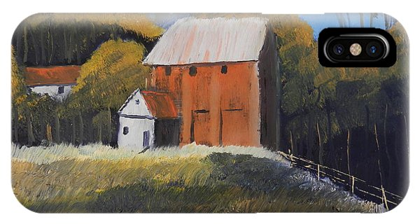 Farm With Red Barn IPhone Case