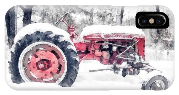 New England Barn iPhone Case - Farmall Super C Tractor In Winter Watercolor by Edward Fielding