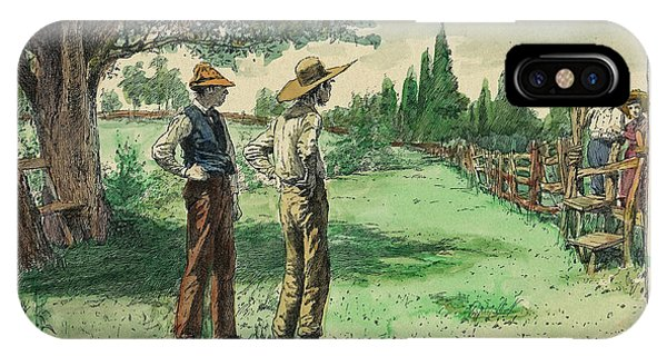 Fashion Plate iPhone Case - Farmers In Pasture With Trees 1885 Hand Tinted Etching  by Pierpont Bay Archives