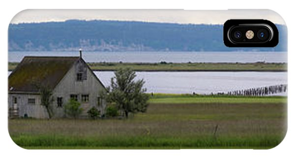 Whidbey iPhone Case - Farmhouse In A Field Along Shore by Panoramic Images