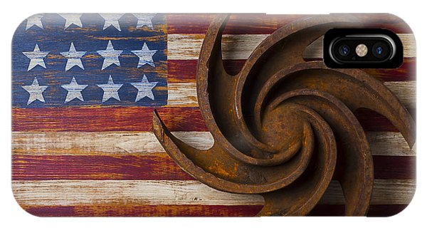 Farm Tool iPhone Case - Farming Tool On American Flag by Garry Gay