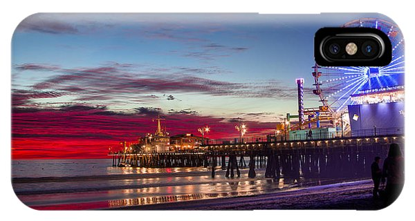 Ferris Wheel On The Santa Monica California Pier At Sunset Fine Art Photography Print IPhone Case