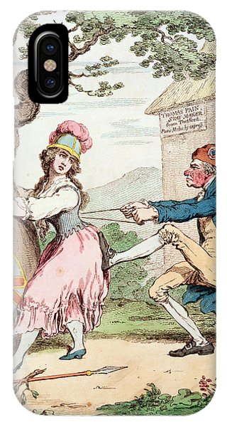 Struggle iPhone Case - Fashion Before Ease, Or A Good Constitution Sacrificed For A Fantastic Form, Pub. By Hannah by George Moutard Woodward