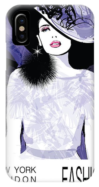 Beauty iPhone Case - Fashion Woman Model With A Black Hat - by Isaxar