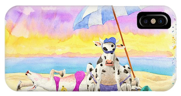 Fat Cows On A Beach 2 IPhone Case