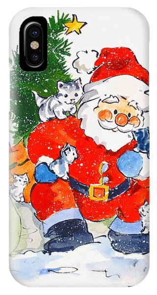 Christmas iPhone Case - Father Christmas And Kittens, 1996  by Diane Matthes