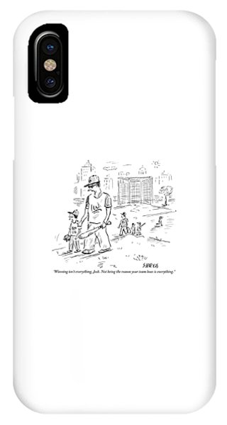 Father Speaks To Son As They Walk Hand In Hand IPhone Case