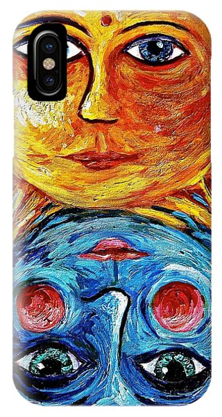 Father Sun And Mother Moon Phone Case by Sebastian Pierre