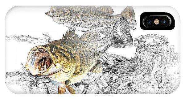 Feeding Largemouth Black Bass IPhone Case