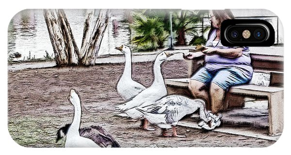 Feeding The Geese IPhone Case