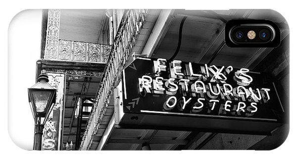 Oyster Bar iPhone Case - Felix's Restaurant Oysters Mono by John Rizzuto