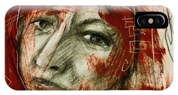 Female Head With Red Background IPhone Case