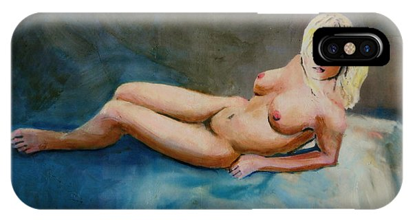 Female Nude Nikie Reclining With Blue Phone Case by G Linsenmayer