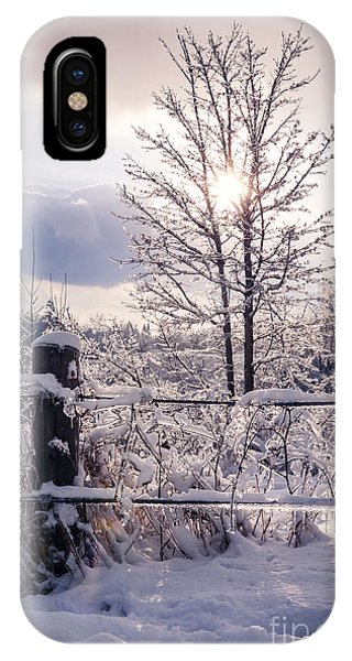 White Fence iPhone Case - Fence And Tree Frozen In Ice by Elena Elisseeva