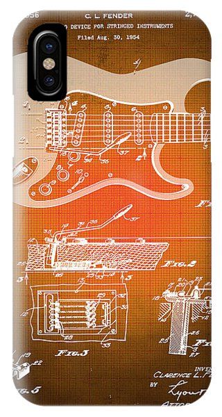 Technical iPhone Case - Fender Guitar Patent Blueprint Drawing Sepia by Tony Rubino