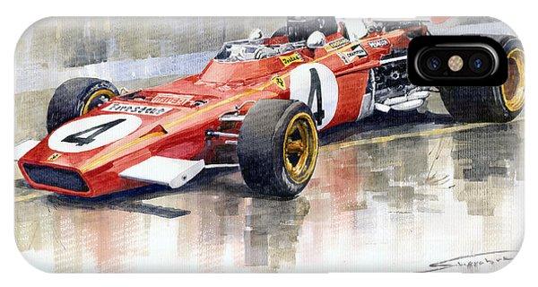 Automotive iPhone Case - 1971 Ferrari 312 B2 1971 Monaco Gp F1 Jacky Ickx by Yuriy Shevchuk