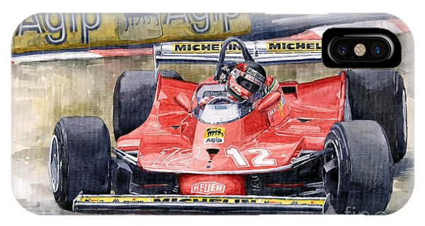 Automotive iPhone Case - Ferrari  312t4 Gilles Villeneuve Monaco Gp 1979 by Yuriy Shevchuk