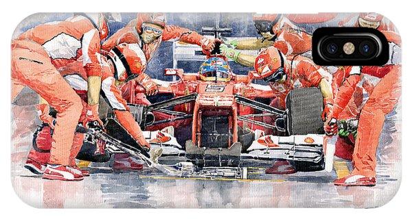 Automotive iPhone Case - 2012 Ferrari F 2012 Fernando Alonso Pit Stop by Yuriy Shevchuk