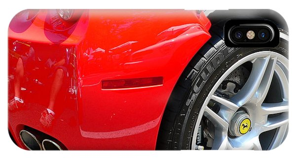 IPhone Case featuring the photograph Ferrari Rear Panel And Tire by Jeff Lowe