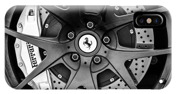 Ferrari Wheel Emblem - Brake Emblem -0430bw IPhone Case