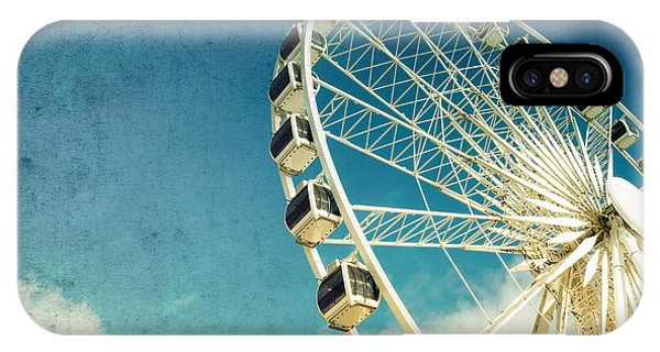 Background iPhone Case - Ferris Wheel Retro by Jane Rix