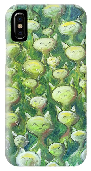 Oil iPhone Case - Field Of Cats by Nik Helbig
