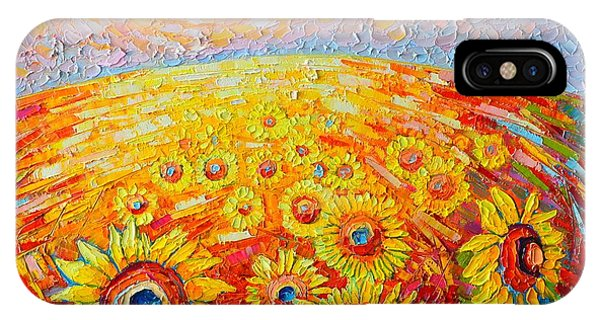 Wild Violet iPhone Case - Fields Of Gold - Abstract Landscape With Sunflowers In Sunrise by Ana Maria Edulescu