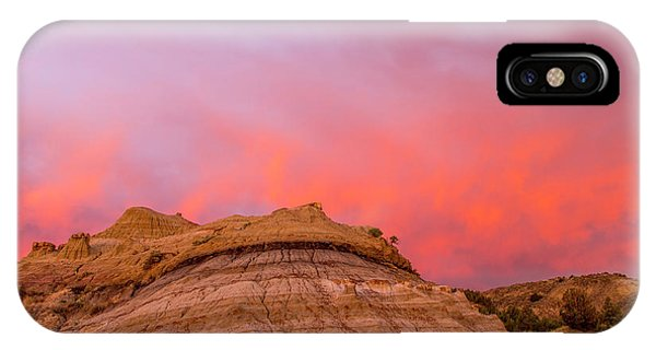 North Dakota Badlands iPhone Case - Fiery Sunrise Clouds Over Badlands by Chuck Haney